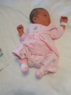 All dressed up.... Aryn, dressed and ready to come home from the hospital.