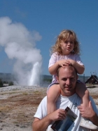 Thar she blows. Daddy, Ainsley, and Old Faithful.