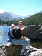 Bear Lake - RMNP. Jennifer and Aidyn stop for a picture as we walk around Bear Lake in Rocky Mountain National Park.