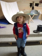 Cowgirl. Ainsley dresses up as a cowgirl at the Frontier Days Museum in Cheyenne.